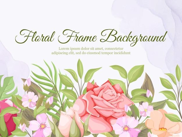 Hochzeitsfahnenhintergrundschablone mit schönem blumenvektor