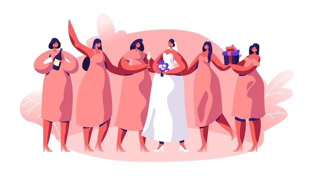 Hochzeitsfeier brautjungfer und verlobte. traditionelle zeremonie fröhliche vorbereitung. braut tragen schöne weiße kleid magd halten champagnerflasche und geschenk box flache cartoon vektor-illustration