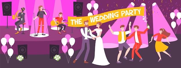 Hochzeitsfeier im horizontalen banner des restaurants mit musikern auf der bühne und tanzenden jungvermählten und gästen
