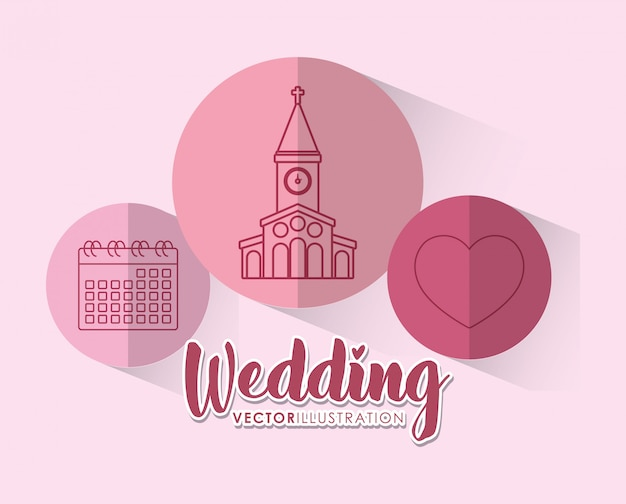 Hochzeitsfeier mit set icons