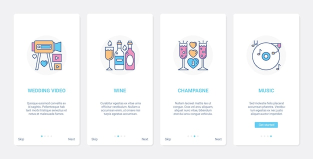 Hochzeitsfeier und bankett ui ux onboarding der mobilen app-seitenbildschirm-set Premium Vektoren