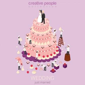 Hochzeitsfeiertag event organisation service süßwaren geschäftskonzept kuchencreme kleine bäcker konditoren flach isometrisch.