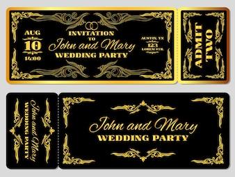 Hochzeitsfesteinladungsschablone im goldenen Schwarzen