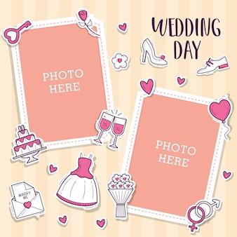 Hochzeitsfotorahmen mit niedlichem objekthochzeitsaufkleber