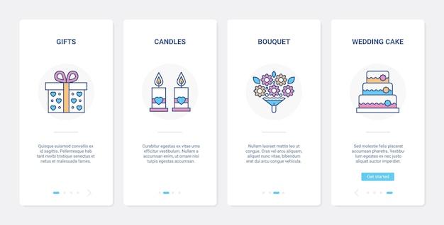 Hochzeitsgeschenklinie festliche dekoration ui ux onboarding mobile app-seitenbildschirm-set
