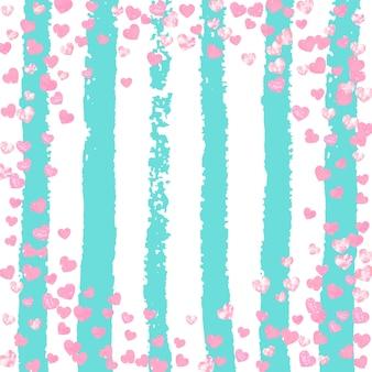 Hochzeitsglitterkonfetti mit herz auf türkisstreifen. fallende pailletten mit metallischem schimmer. design mit rosa hochzeitsglitter für partyeinladung, banner, grußkarte, brautdusche.