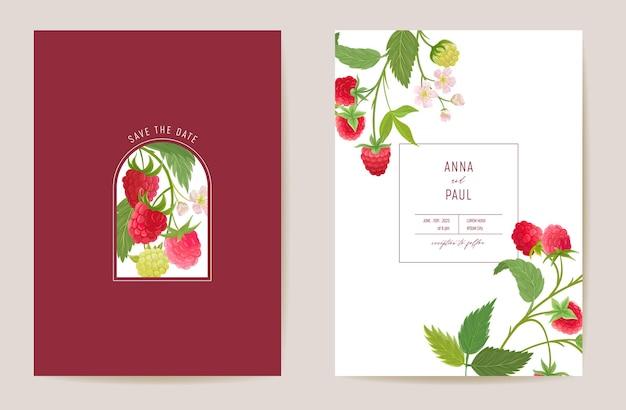Hochzeitshimbeerblumenvektorkarte, beerenfrüchte, blumen, blatteinladung. aquarell-vorlagenrahmen. botanisches save the date-cover, modernes poster, trendiges design, luxuriöser hintergrund