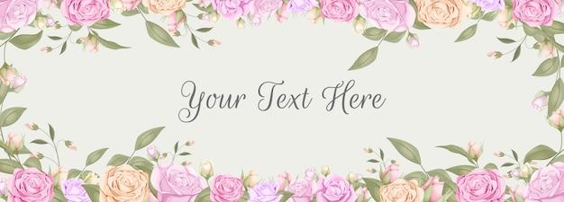 Hochzeitshintergrund-bannerentwurf mit rosenstrauß