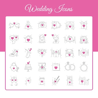 Hochzeitsikonen eingestellt mit entwurfs-art