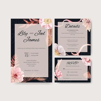 Hochzeitskarte im aquarellstil