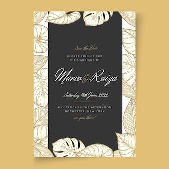 Hochzeitskarte im minimalistischen stil Kostenlosen Vektoren