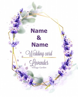 Hochzeitskarte lavendel kranz aquarell