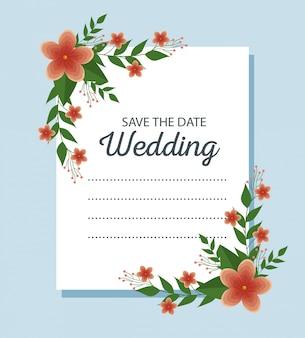 Hochzeitskarte mit blumen und niederlassungen verlässt zum ereignis