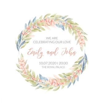 Hochzeitskarte mit blumenrahmen