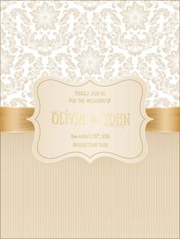 Hochzeitskarte mit damast und eleganten floralen elementen.