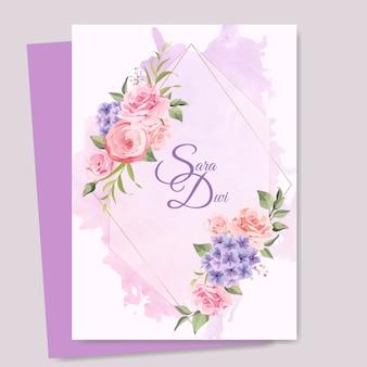 Hochzeitskarte mit elegantem rahmen Premium Vektoren