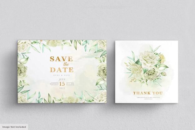 Hochzeitskarte mit grünem blumenmuster