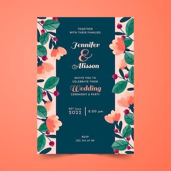 Hochzeitskarte mit handgezeichneten blumen