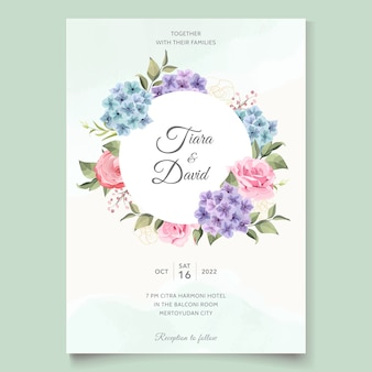 Hochzeitskarte mit hortensien- und rosenstrauß