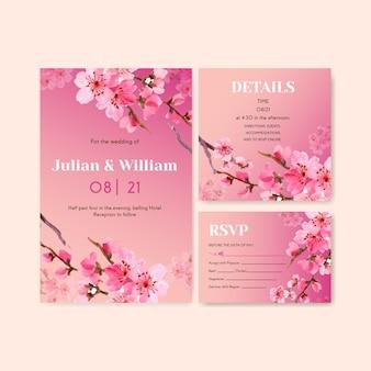 Hochzeitskarte mit kirschblüten-konzeptdesign-aquarellillustration