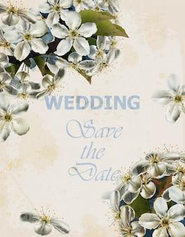 Hochzeitskarte mit kirschblumen