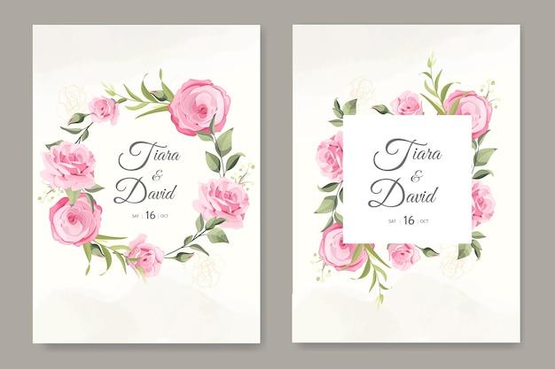 Hochzeitskarte mit kranz weichen rosa rosen vorlage