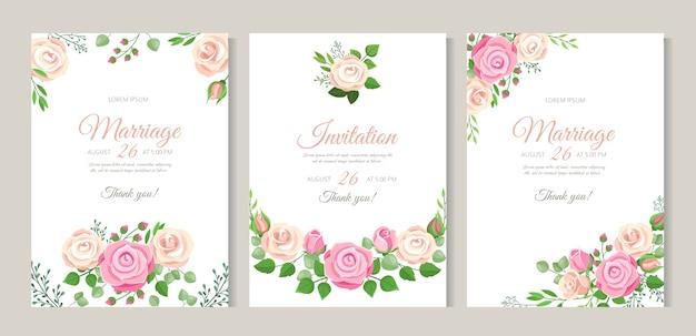 Hochzeitskarte mit rosen. rote, weiße und rosa rosen mit blättern. romantisches hochzeitsblumendekor für einladungskarten