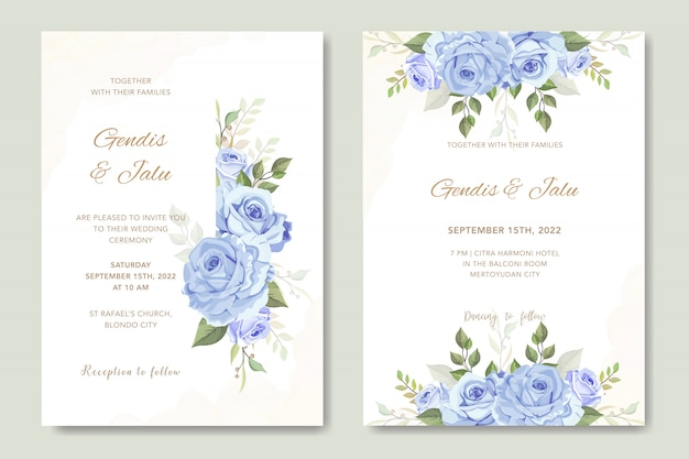 Hochzeitskarte mit schönen blumen aquarell vorlage