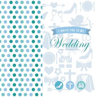 Hochzeitskarte über weißer hintergrundvektorillustration