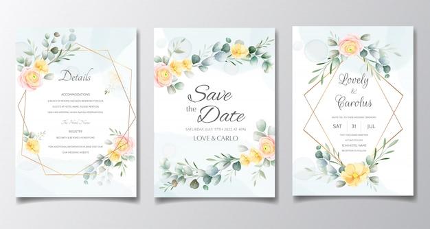 Hochzeitskarte und einladungskarte mit schöner rosenschablone