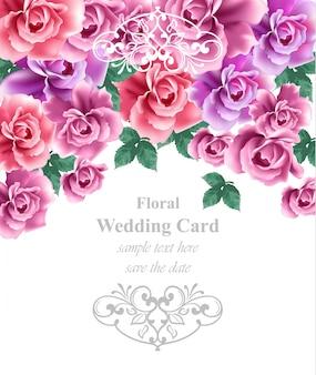 Hochzeitskarte vektor vorlage. blumenhintergrund der grußkarte oder der einladung