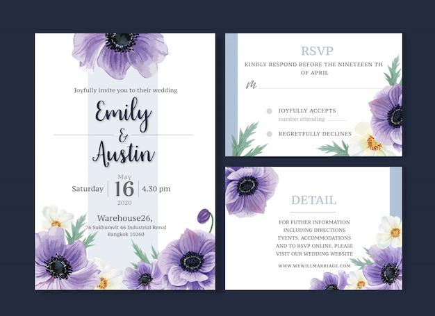 Hochzeitskarten-blumenaquarell, dankeskarte, einladungsheiratillustration