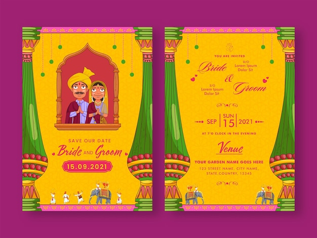Hochzeitskarten-vorlagendesign mit indischen paaren, die namaste (willkommen) in gelber farbe tun.