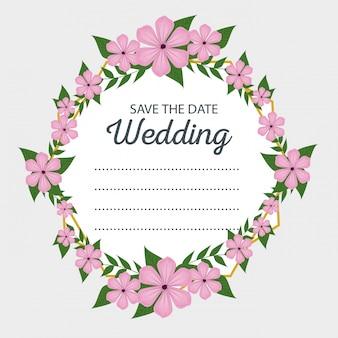 Hochzeitskartendekoration mit blumen und blättern