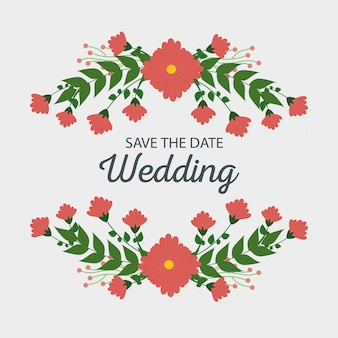 Hochzeitskartendekoration mit blumen und niederlassungsblättern