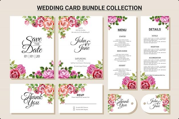 Hochzeitskartendesign mit blumenverzierungs-bündelsammlungssatz