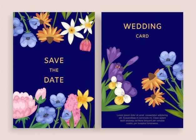 Hochzeitskarteneinladung, illustration. schablonenblumengruß im weinleserahmen, elegantes muster mit blumen.