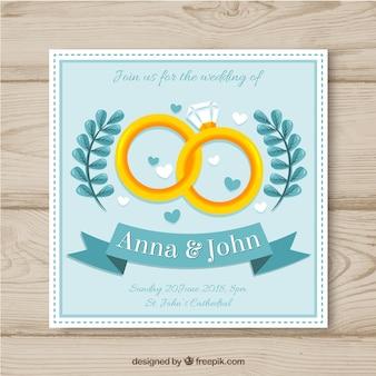 Hochzeitskarteneinladung mit ringen in der flachen art