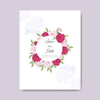Hochzeitskarteneinladung mit schönen aquarellblumen