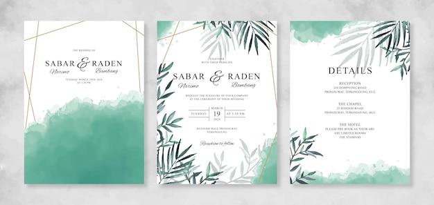 Hochzeitskarteneinladungssatzschablone mit handgezeichnetem aquarelllaub und spritzen
