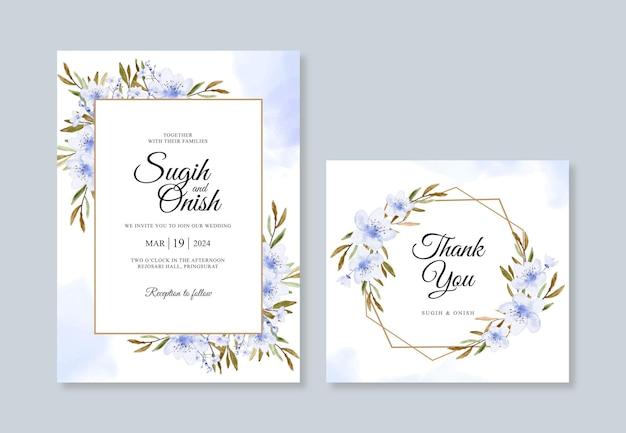 Hochzeitskarteneinladungsschablone mit aquarellblumen