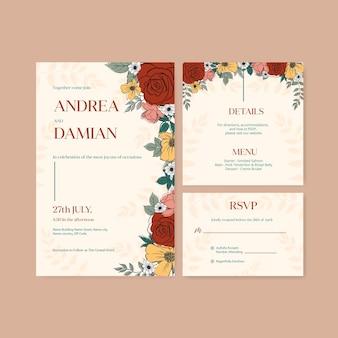 Hochzeitskarteneinladungsschablone mit aquarellillustration des frühlingslinienkunstkonzeptdesigns