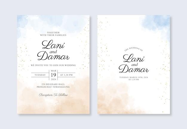 Hochzeitskarteneinladungsschablone mit handgemaltem aquarellspritzer