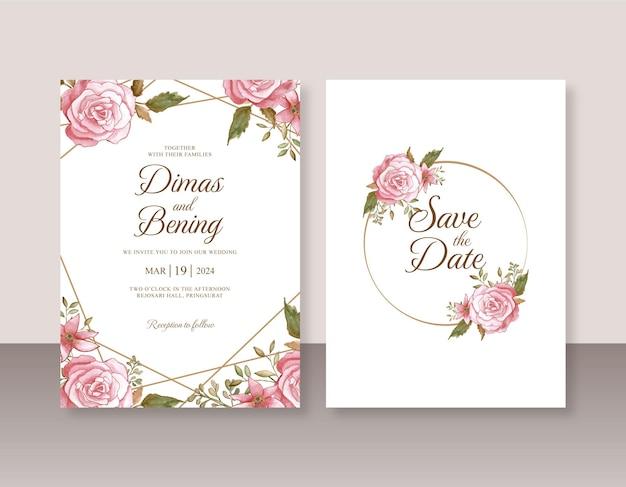 Hochzeitskarteneinladungsschablone mit rosenaquarellmalerei