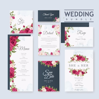 Hochzeitskartensatzschablone mit schönem blumen- und blatthintergrund