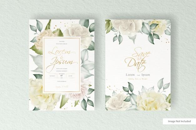 Hochzeitskartenschablone der aquarellblumenanordnung, gesetzt mit blumen- und blattdekoration