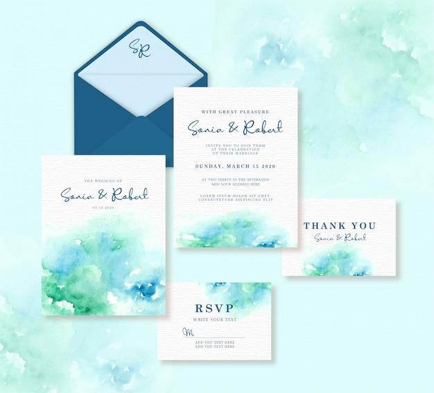 Hochzeitskartenschablone eingestellt mit blauem und grünem spritzenaquarellhintergrund