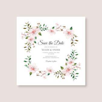Hochzeitskartenschablone mit aquarellblumen