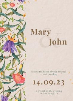 Hochzeitskartenschablone mit aquarellpfauen und blumen