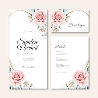 Hochzeitskartenschablone mit blumenaquarell des goldenen rahmens